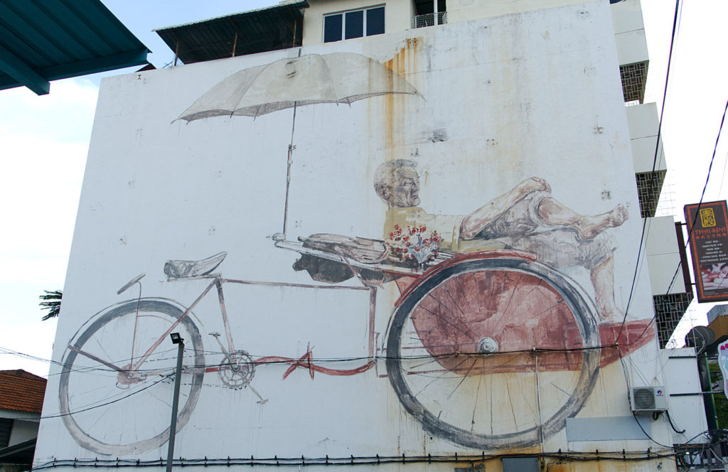 Street-Art-Tour-George-Town-Mann-in-Rikscha
