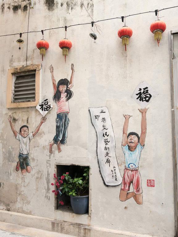 Street-Art Ipoh Springende Kinder