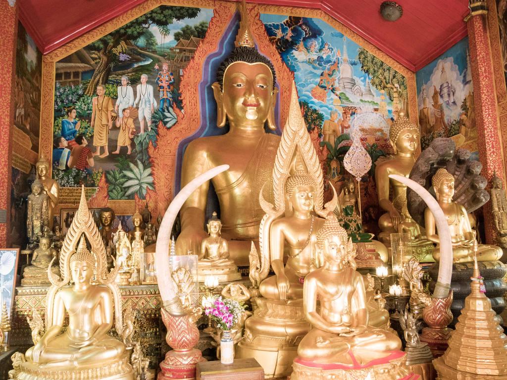 Wat Phra That Doi Suthep Tempel - Wandelgang - Wandmalerei - Statuen