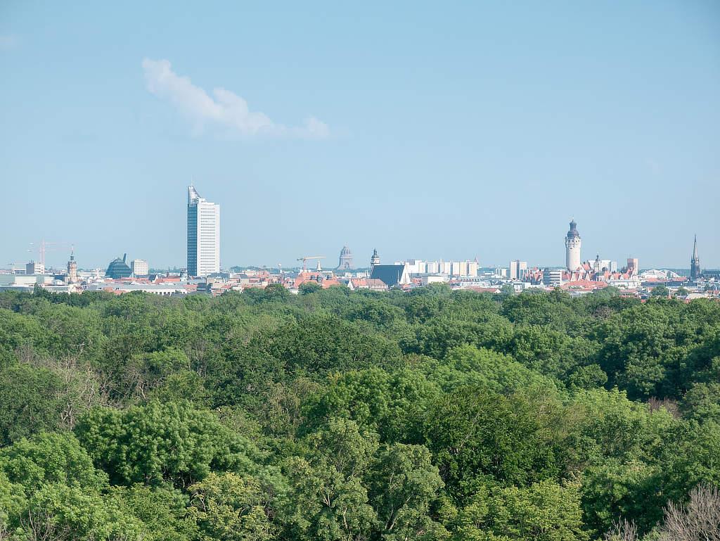 Ausblick auf Leipzig vom Wackelturm
