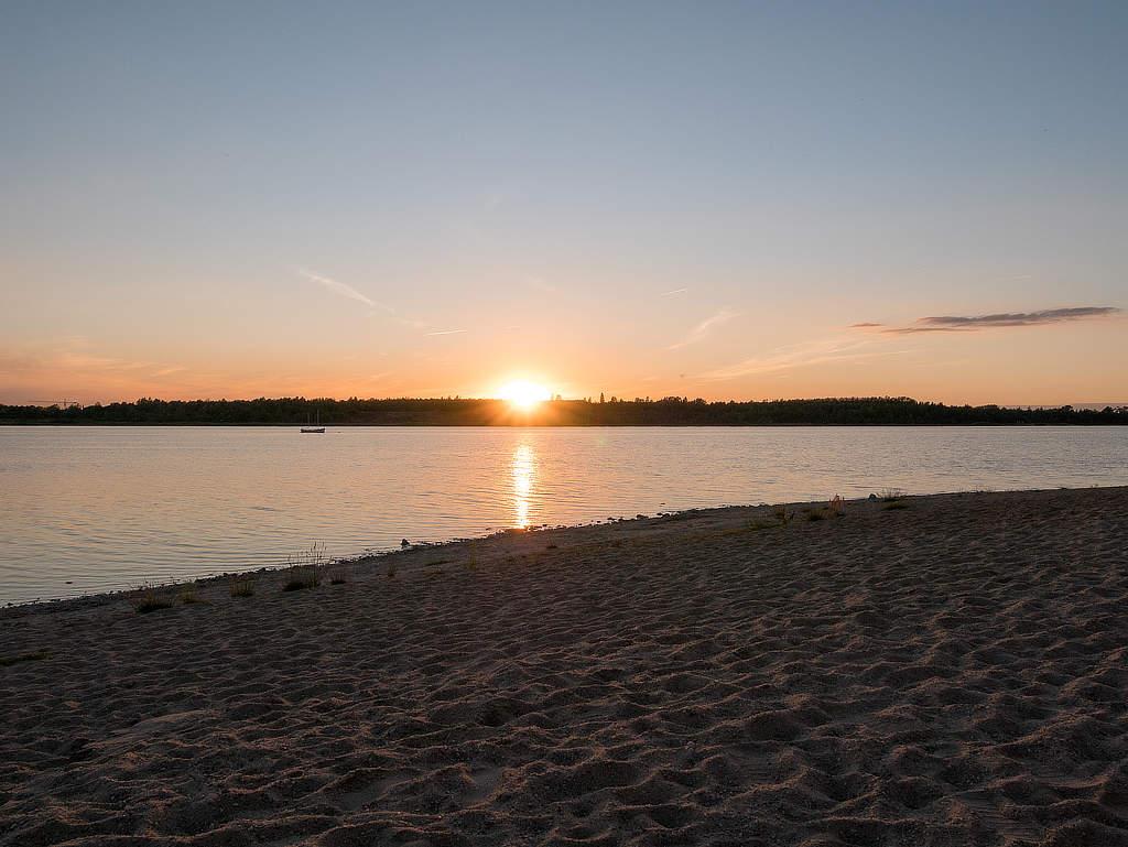 Sonnenuntergang in der Schladitzer Bucht