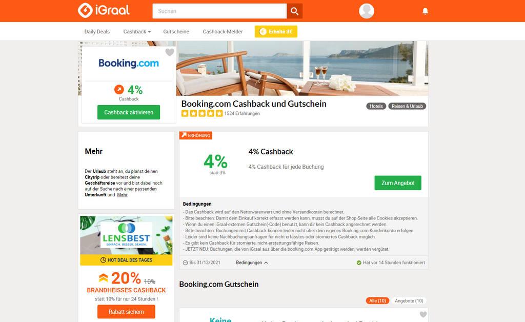 iGraal- Cashback Seite booking.com